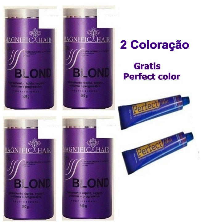 MAGNIFIC HAIR - 4 UN/ PÓ DESCOLORANTE (ROXO) 500G + 2 BRINDE COLORAÇÃO
