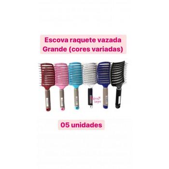 5 UN/ Escova Raquete Cerâmica Vazada Cabelo Curva GRANDE /COR VARIADA