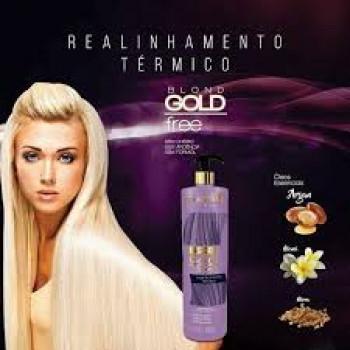 Progressiva para Loiras Blond Gold Free Realinhamento térmico Souple liss