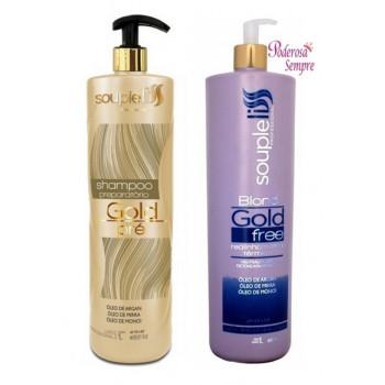 Souple Liss Gold Free Blond - Progressiva sem Formol - Realinhamento Térmico+ shampoo+ mascara de Brinde