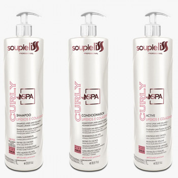 Kit Completo Spa Curly Soupleliss Cabelos Cacheados 3x1000ml