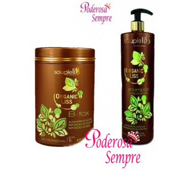 B-tox Organic Liss 1kg + Shampoo Anti Resíduo Souple Liss 1l